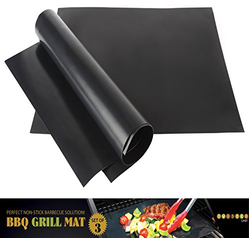 Nonstick BBQ Grill Mat - Perfect for Charcoal, Electric and Gas Grill - Reusable, Easy to Clean - Set of 3 Mats - Essential Grilling Accessories for Home Cooks and Grillers (Genesis Griddle compare prices)