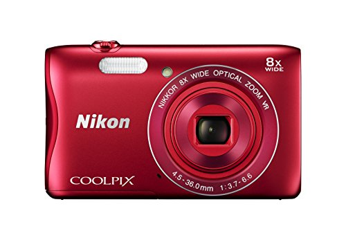 Nikon COOLPIX S3700 Digital Camera with 8x Optical Zoom and Built-In Wi-Fi (Red)
