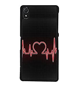 Heart Beat 2D Hard Polycarbonate Designer Back Case Cover for Sony Xperia Z3 :: Sony Xperia Z3 Dual :: Sony Xperia Z3 D6633