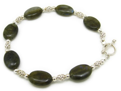 AM6165 – Unique Labradorite and 925 silver Bracelet by Dragonheart – 20cm with toggle clasp