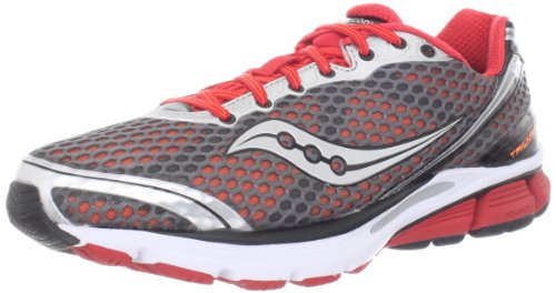 Saucony Saucony Men's Triumph 10 Running Shoe,Grey/Red/Vizipro,9.5 M US