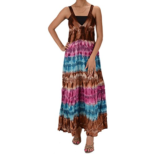 Skirts & Scarves Cotton Tie N Dye Printed sleeveless Lace Work Dress For Women (Brown)