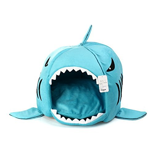 KOJIMA Shark Round House Puppy Bed with Pet Bed Mat, Small to Medium (Blue, Medium)