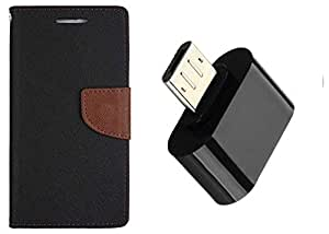 Novo Style Wallet Case Cover For Motorola Moto E3 Black +  Little Adapter Micro USB OTG to USB 2.0 Adapter for Smartphones & Tablets