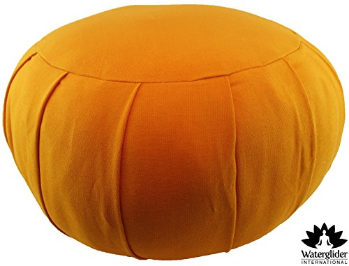 Zafu Round Cotton-filled Meditation Cushion: 100% Organic Cotton Fill (Orange Saffron) image