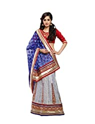 Sareez Off White & Purple Color Net & Brasso Saree.