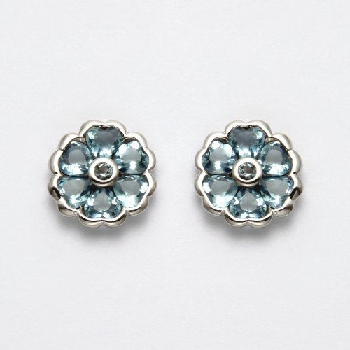 Sterling Silver Aqua Crystal Flower Stud Earrings