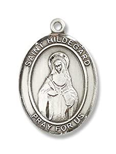 "Made in America! Catholic Necklace, Sterling Silver St. Hildegard Von Bingen Medal Pendant with 24"" Stainless Steel Chain in Gift Box. Patron Saint of Musicians and Writers."