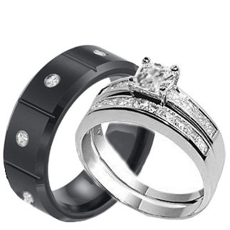 3 Pieces His and Hers Bridal Stainless Steel and Black Stainless Steel Engagement Wedding Band Ring Set (Size Men's 10 Women's 8)