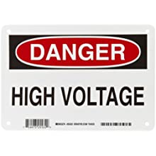 "Brady 25532 7"" Height, 10"" Width, B-401 Plastic, Black And Red On White Color Admittance Sign, Legend ""Danger, High Voltage"""