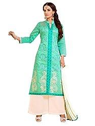 SR Women's Cotton Unstitched Dress Material (Green Top Chiku Bottom Duptta)