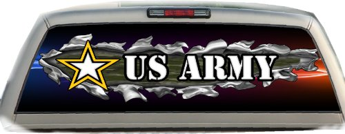 U.S. Army Ripped- 17 inches- by- 56 inches- Compact Pickup Truck- Rear Window Graphic-(PLEASE MEASURE YOUR WINDOW PRIOR TO ORDERING) (Military Rear Window Graphics compare prices)