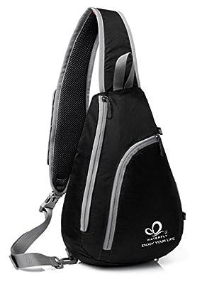 WATERFLY Sling Shoulder Backpacks Bags Crossbody Rope Triangle Pack Rucksack for Hiking or Multipurpose Daypacks and School Handbag for Man Women Girl