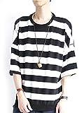 (モノマート) MONO-MART 7分袖 フライス編み ワイド ボーダー カットソー 伸縮性 BIGシルエット サマー Tシャツ ゆる シルエット 夏 爽やか MODE 涼しい メンズ ブラック ワンサイズ