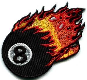 Flaming Eight Ball Biker Pool Retro Snooker Applique Iron-on Patch New S-268 Cute Gift to Your Cloth Fast Shipping