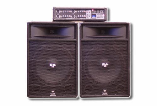 Ds18 Ds-Ampfu Two 15-Inch Passive Loudspeakers With 4-Channel 200-Watt Rms And 3,200-Watt Peak Amplifier/Mixer/Bt/Sd/Usb