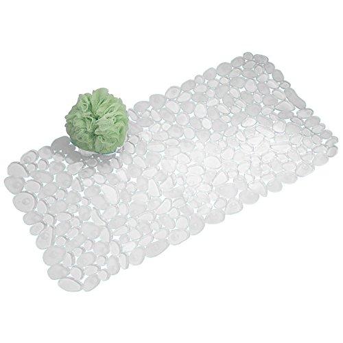 mDesign Tappetino a Ventosa Antiscivolo con Nervature da Bagno per Doccia, Vasca - Trasparente