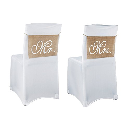 Vlovelife Mr & Mrs Burlap Chair Banner Set Chair Sign Garland Rustic Vintage Wedding Party Chair Decoration 1 Pair