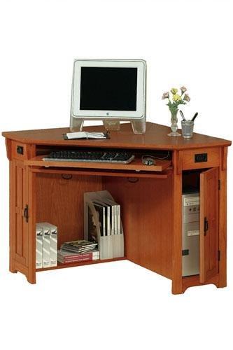 Oak corner computer desk on sale craftsman corner computer desk w compartment 30 hx50 w dark oak - Small oak corner computer desk ...