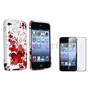 * * * White/red Heart TPU Rubber Soft Skin Case Cover+lcd Film for Ipod Touch 4 4th G |