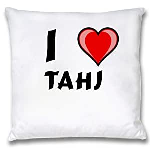 Amazon.com: White Cushion Cover with I Love Tahj (first