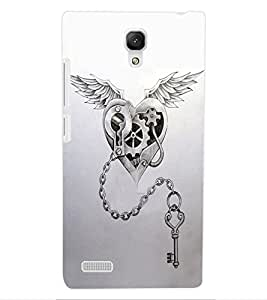 ColourCraft Heart and Key Design Back Case Cover for XIAOMI REDMI NOTE