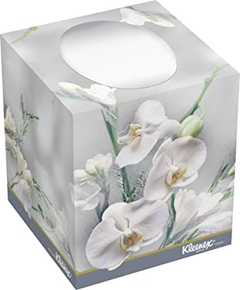 "Kimberly-Clark Kleenex 21269 Boutique Facial Tissue with Floral Box, 5"" Height x 4.375"" Width x 4.375"" Length, White (36 Boxes of 95)"
