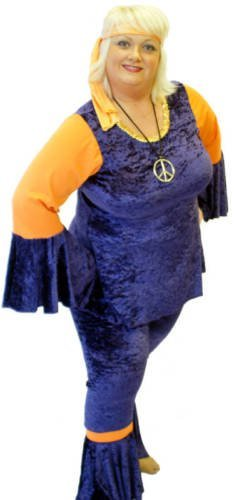 Ladies Navy Blue and Orange Hippie Costume. Sizes 16 to 42