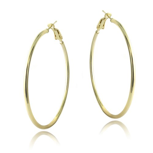 18K Gold over Sterling Silver 50mm Polished Hoop Earrings