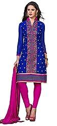 DKS Designers Women's Chanderi Unstitched Dress Material (PARI01_Blue_Free Size)