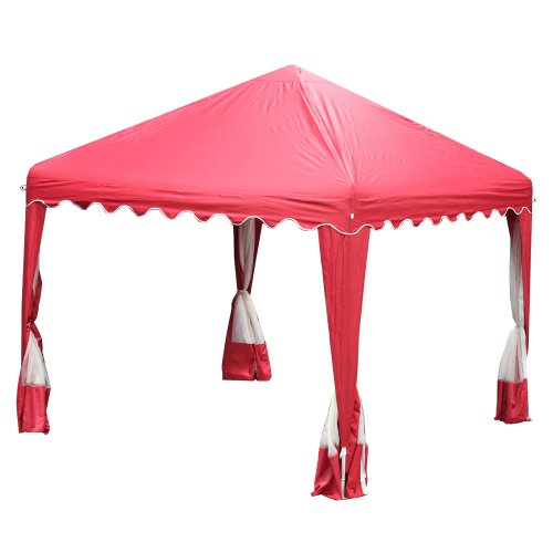 King Canopy GP1010R 10-Feet by 10-Feet Garden Party Canopy, Red with Bug screens