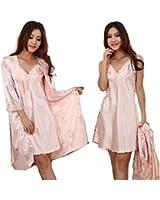【ノーブランド品】エレガントな ネグリジェ 花柄 ピンク シルク 素材 セクシー パジャマ