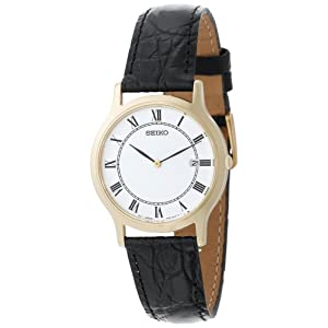 Click to buy Seiko Watches for Men: SKP330 Dress Black Leather Strap Watch from Amazon!