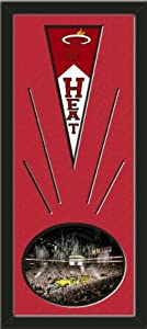 Miami Heat Wool Felt Mini Pennant & American Airlines Arena Photo - Framed With... by Art and More, Davenport, IA
