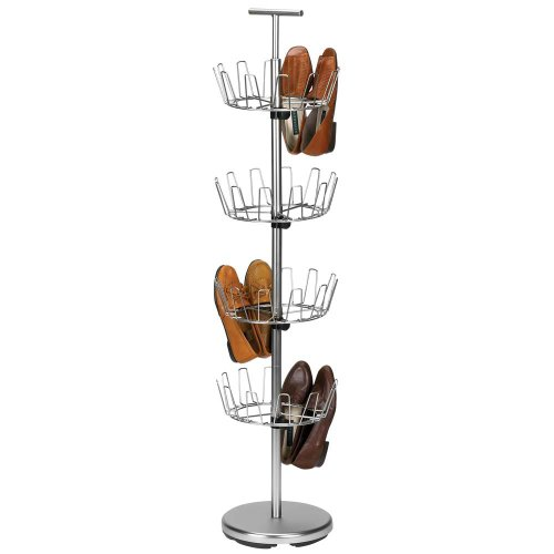 Household Essentials Four-Tier Revolving Shoe Tree, Satin Nickel Finish