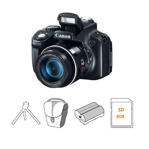 Buy Canon PowerShot SX50 HS Digital Camera, 50x Optical Zoom, 24-1200mm (35mm Equivalent) Lens – Bundle – with 16GB SDHC Class 10 Memory Card, Camera Case , Adorama NB-1L10 Spare Battery, and Adorama Two Section Table Top Tripod