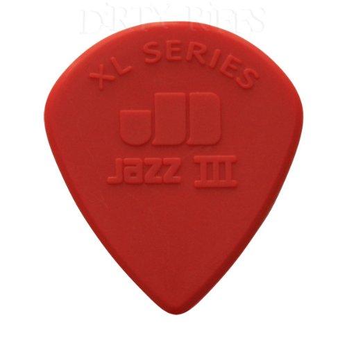 12-x-dunlop-nylon-jazz-iii-xl-red-guitar-picks-plectrums-sharp-tip-138mm-in-a-handy-pick-tin