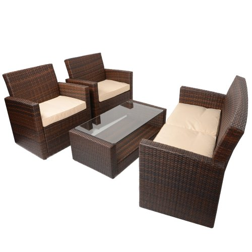 4pc Tuscany Rattan Sofa Set Garden Conservatory Furniture Chair & Coffee Table