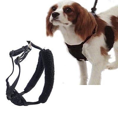"""L/XL Black Anti-Pull Mesh Dog Harness Fits Necks 16""""-26"""""""