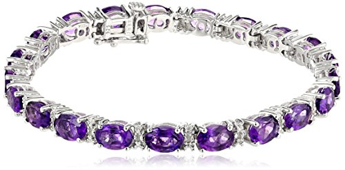 Sterling Silver Oval-Cut Amethyst and Diamond Accent Bracelet, 7.25""