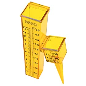 "Springfield Precision Inst 90107 ""2 for 1"" 2-piece Sprinkler & Rain Gauge - Bright Yellow"