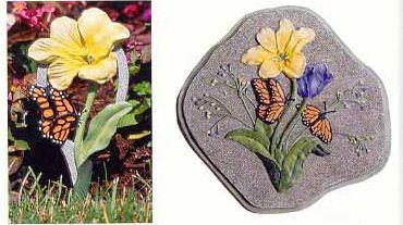Butterfly and Tulip Stepping Stone and Garden Stake Set - Buy Butterfly and Tulip Stepping Stone and Garden Stake Set - Purchase Butterfly and Tulip Stepping Stone and Garden Stake Set (In the Garden and More, Home & Garden,Categories,Patio Lawn & Garden,Outdoor Decor)