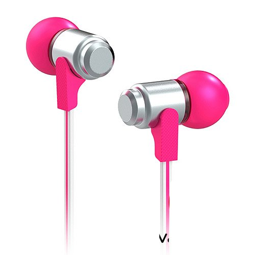 High Quality Flat Cable Metal Earphone For Iphone 5 With Mic For Samsung N7100 I9300 Headphone (Rose/Silver)
