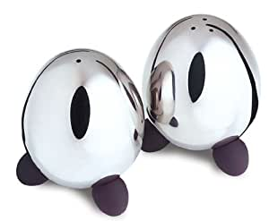 Qq egg shaped stainless steel salt and pepper shakers set with rubber feet kitchen - Egg shaped salt and pepper shakers ...