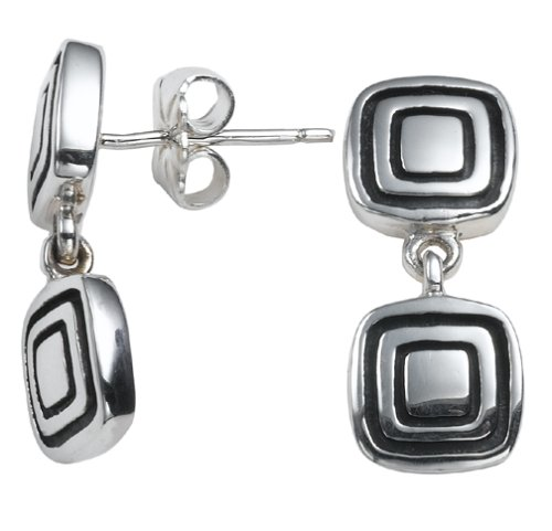 Zina Sterling Silver Square Drop Earrings