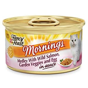 Fancy Feast Mornings Medley with Wild Salmon, Garden Veggies & Egg in Sauce Gourmet Cat Food, Case of 24