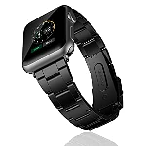 Apple Watch Band, JETech 42mm Stainless Steel Strap Wrist Band Replacement w/ Metal Clasp for Apple Watch All Models 42mm - Black
