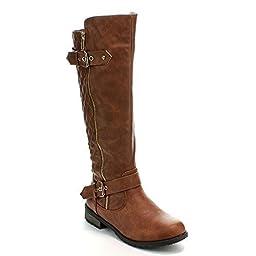 FOREVER MANGO-21 Women\'s Winkle Back Shaft Side Zip Knee High Flat Riding Boots,7 B(M) US,Tan