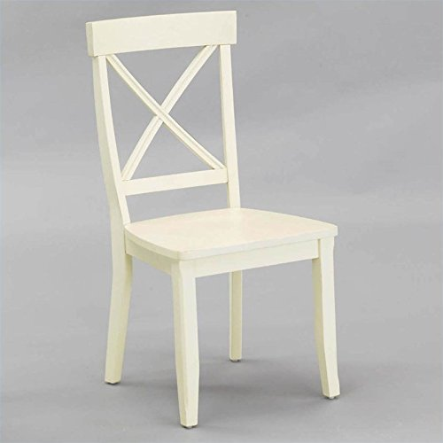 Home Styles FurnitureWood Dining Side Chair in Antique White Finish (Set of 2)