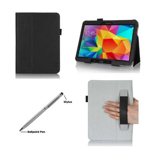 ProCase Folio Case with Stand for Samsung Galaxy Tab 4 10.1 Tablet ( 10 inch Galaxy Tab 4, SM-T530 / T531 / T535), with Auto Sleep/Wake feature, bonus stylus pen included (Black)